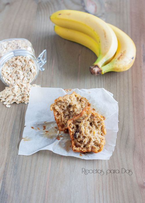 Muffins avena, platano y chocolate
